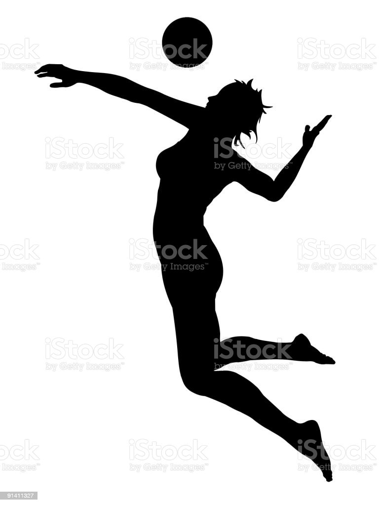 silhouette of jumping girl playing volleyball royalty-free silhouette of jumping girl playing volleyball stock illustration - download image now