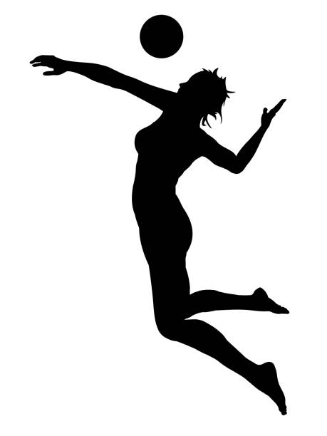 silhouette of jumping girl playing volleyball vector art illustration