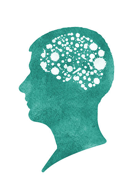 Silhouette of Man with Brain vector art illustration