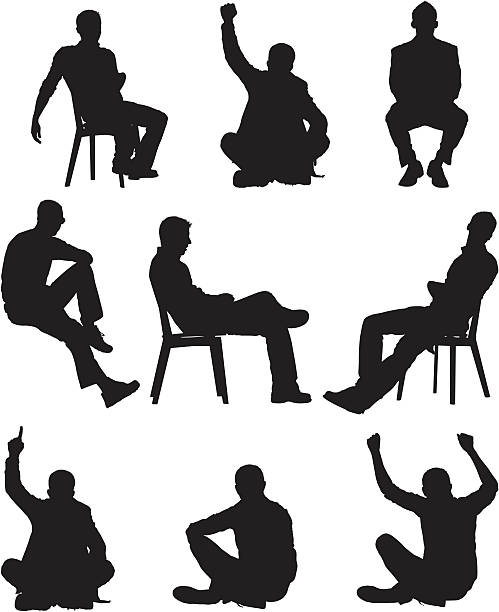 Silhouette of men in different poses Silhouette of men in different poses sitting stock illustrations
