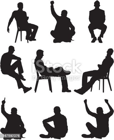 Silhouette Of Men In Different Poses Stock Vector Art ...