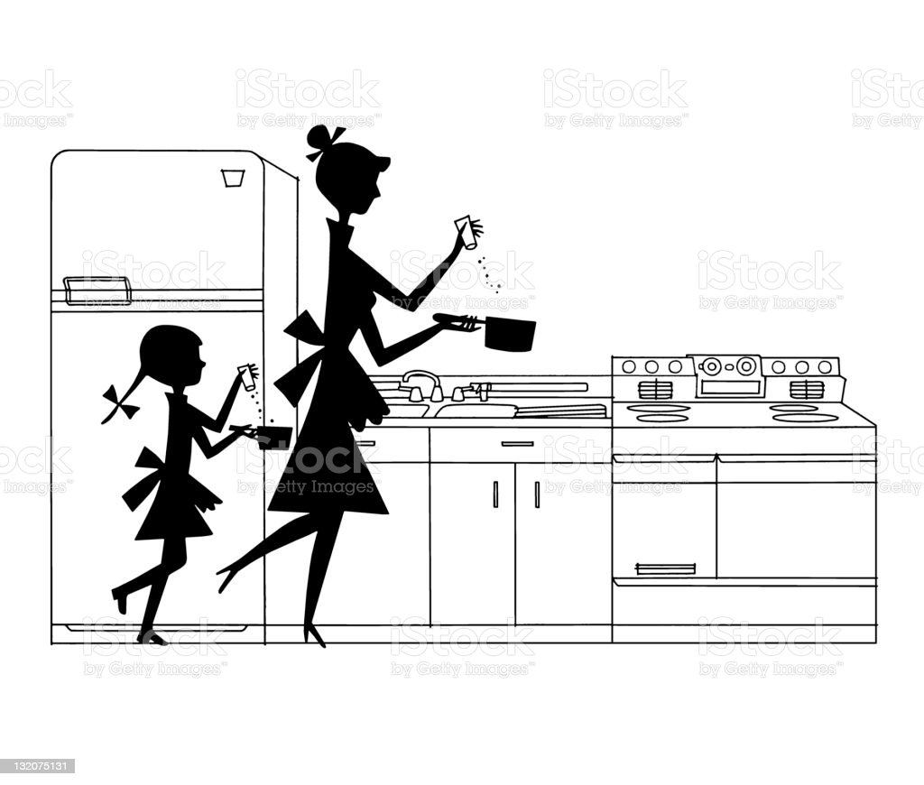 Ilustración De Silueta De Madre E Hija Cocinar Y Más Banco De