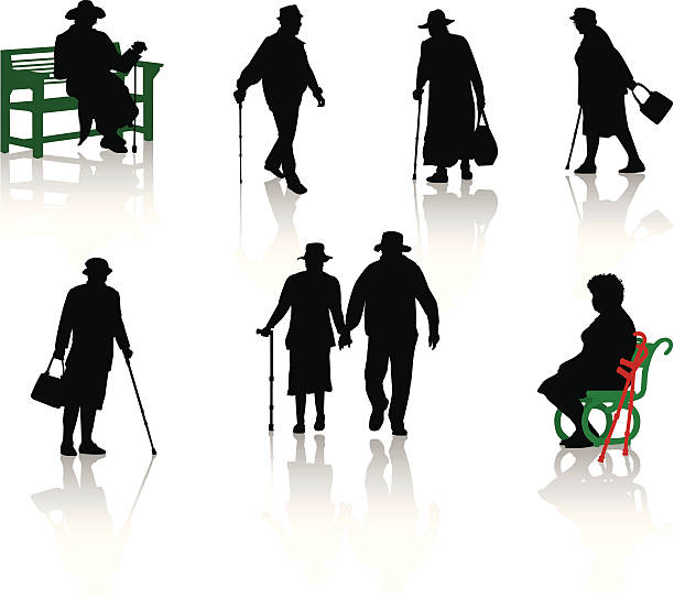 silhouette of old people. vector. - old man hat stock illustrations, clip art, cartoons, & icons