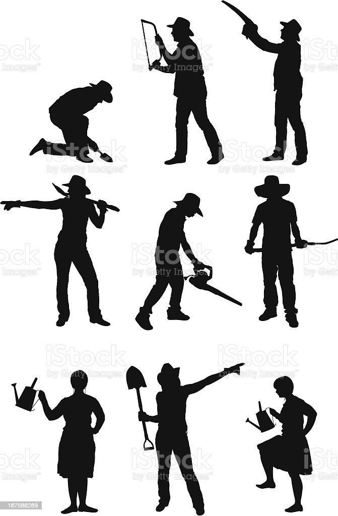 Silhouette of people gardening royalty-free stock vector art