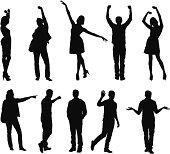 Silhouette of people gesturing
