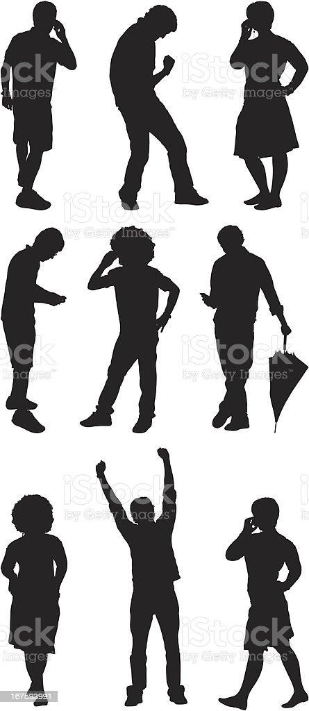 Silhouette von Menschen in verschiedenen Posen – Vektorgrafik