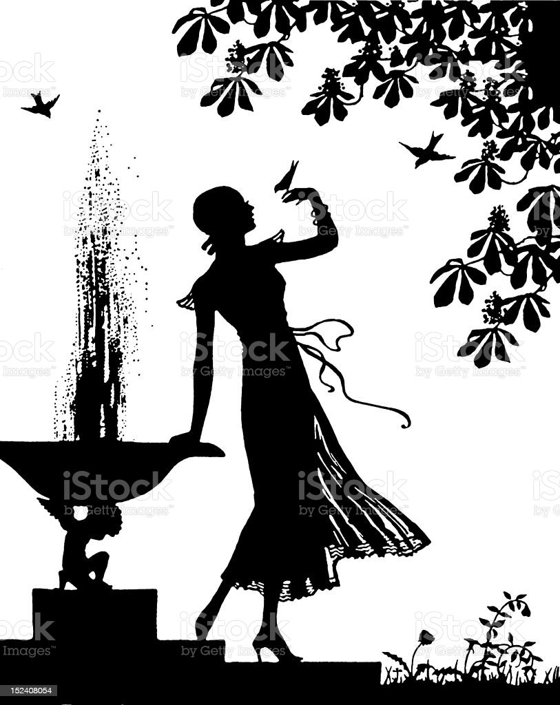 Silhouette of Woman in Garden royalty-free stock vector art