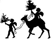 Silhouette, symbolic: Angels on a deer and a walking angel bringing Christmas trees