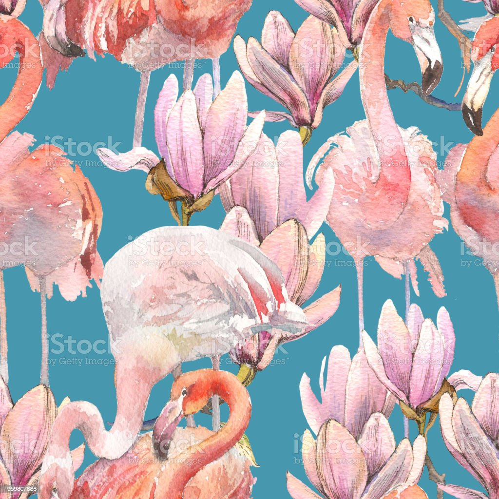 Watercolor tropical summer seamless pattern with flamingos, exotic...