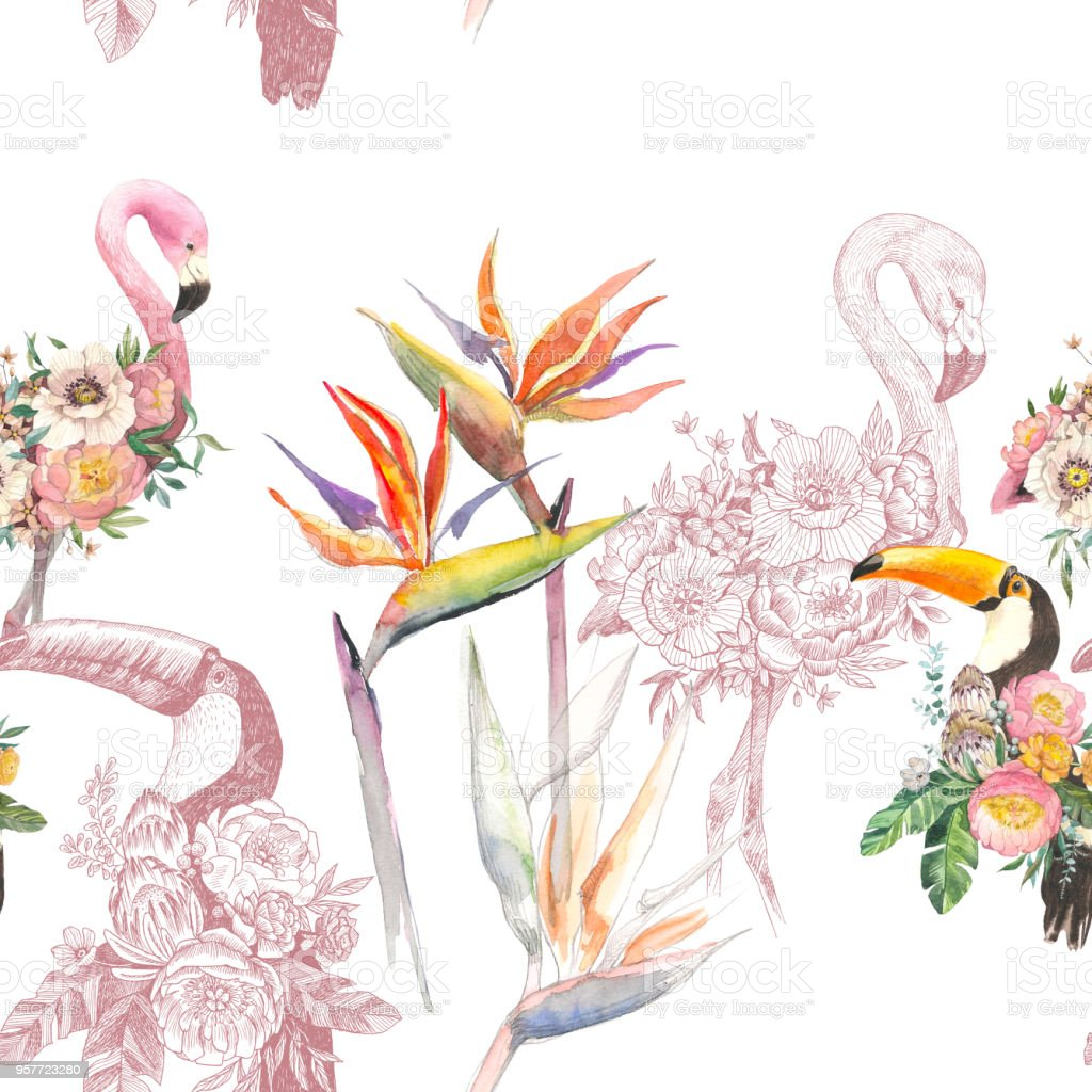 Watercolor tropical summer seamless pattern with toucan, exotic...