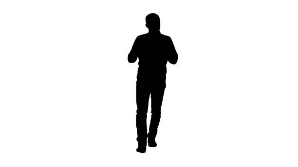 stockillustraties, clipart, cartoons en iconen met silhouet lopende mens die en iets verklaart verklaart - green screen