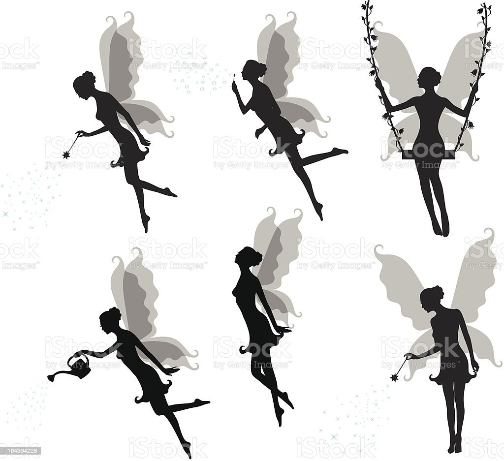 Silhouettes of a fairy. vector art illustration