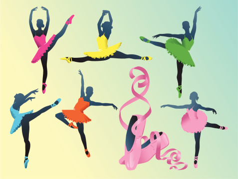 Silhouettes of Ballerinas with Ballet Slippers