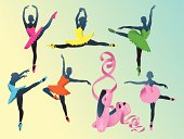 Vector Illustration of ballerinas silhouetes in brightly colored tutus and pink ballet shoes. High resolution JPG and Illustrator 0.8 EPS included.
