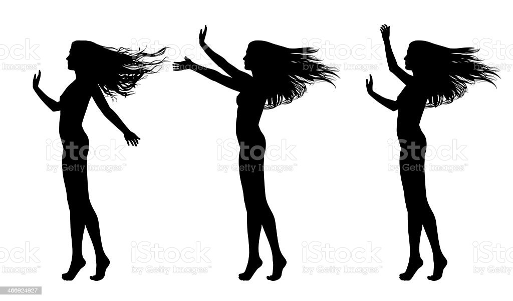 silhouettes of beautiful naked woman different postures set 1 royalty-free stock vector art