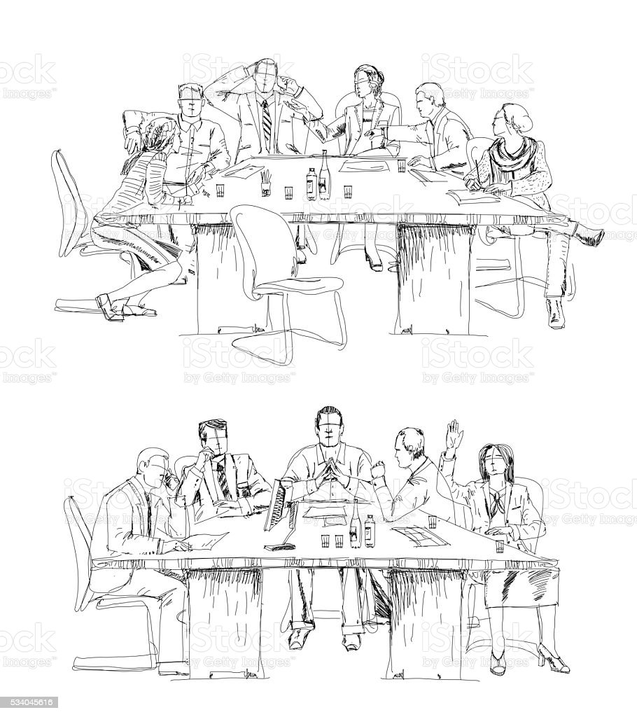Silhouettes Of Business People Working On Meeting Sketch Stock Vector Art U0026 More Images Of Adult ...