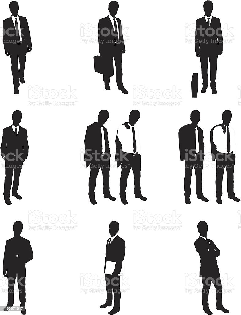 Silhouettes of businessman posing royalty-free stock vector art