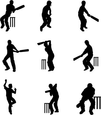 Silhouettes of cricket batsmen at wicket (cartoon style)