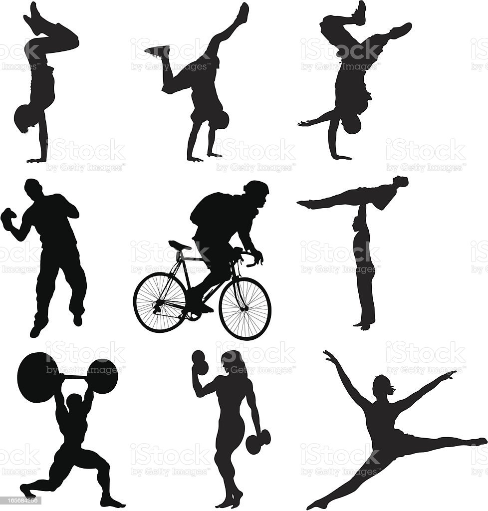 Silhouettes of different sports royalty-free stock vector art