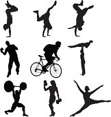 Silhouettes of different sports