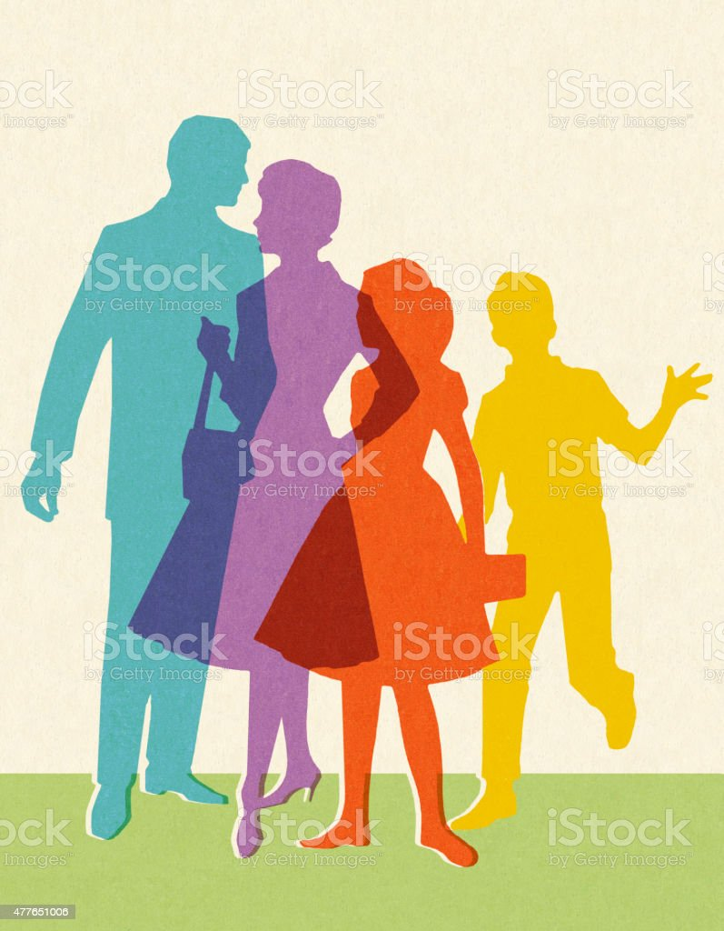 Silhouettes of Family - ilustración de arte vectorial