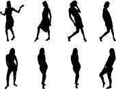 Silhouettes of female dancer