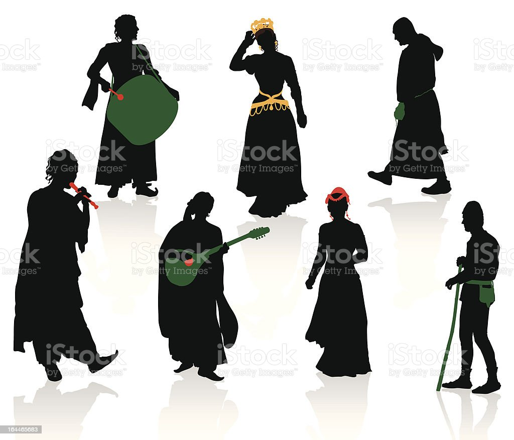 Silhouettes of medieval people vector art illustration