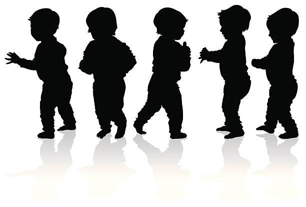 sylwetki więcej dzieci spaceru - maluch stock illustrations