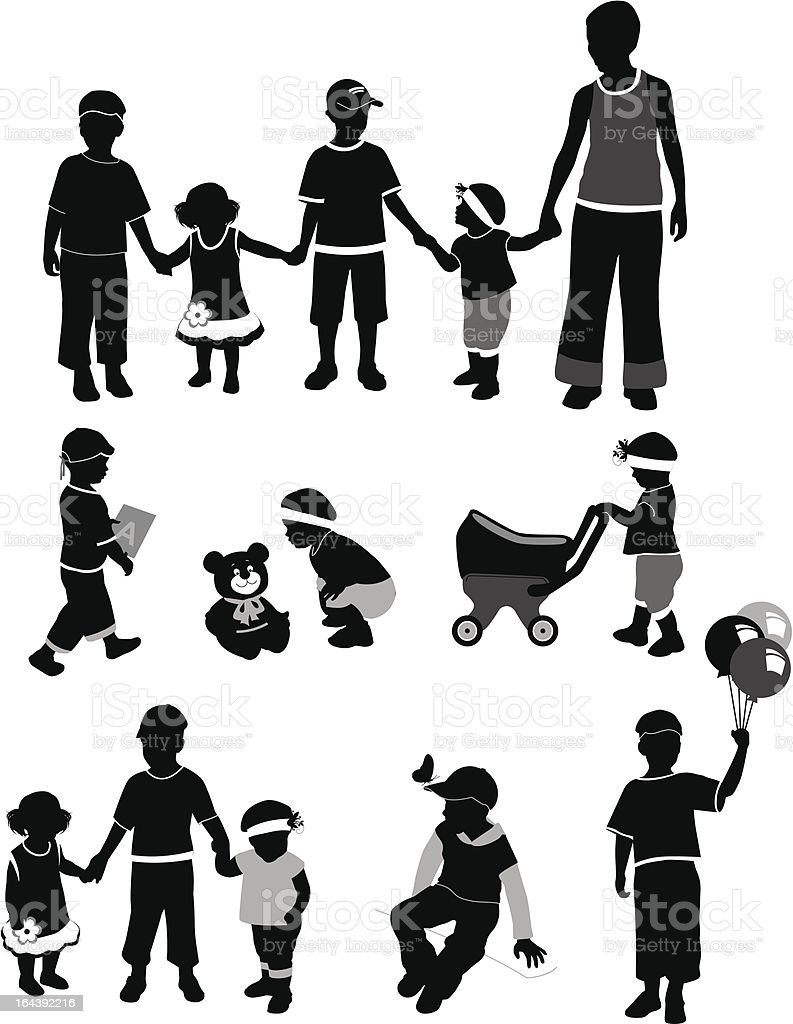 Silhouettes of the children royalty-free stock vector art