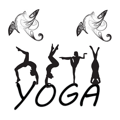 silhouettes of woman doing yoga exercises icons of