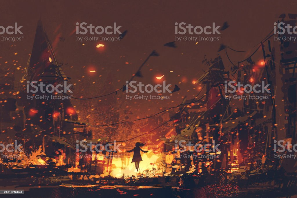 silhouettes of woman on burning village background vector art illustration