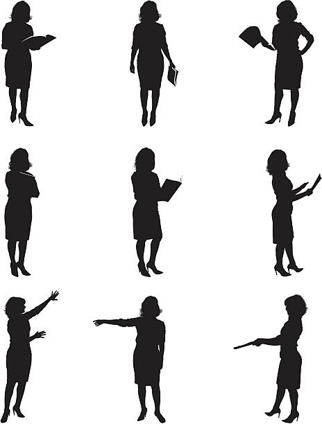 stockillustraties, clipart, cartoons en iconen met silhouettes of women reading - menselijke arm