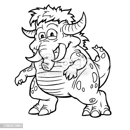 istock Silly Halloween Monster Art. coloring book 1290922864