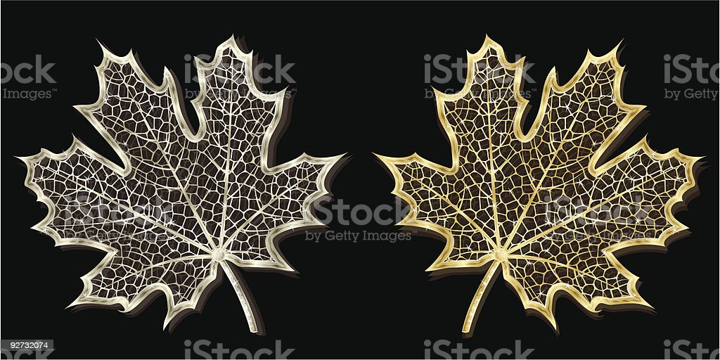 Silver and golden hand-made maple leaves vector art illustration