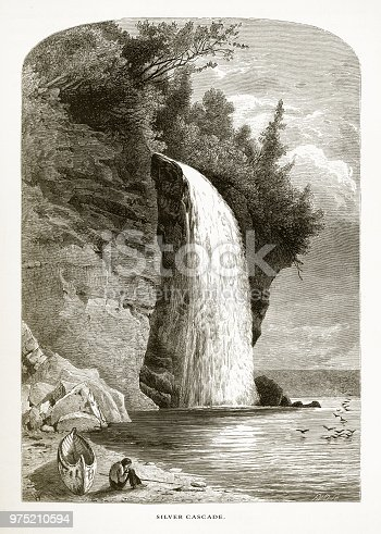 Very Rare, Beautifully Illustrated Antique Engraving of Silver Cascade, Lake Superior, Minnesota, United States, American Victorian Engraving, 1872. Source: Original edition from my own archives. Copyright has expired on this artwork. Digitally restored.