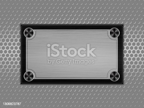 istock Silver circle mesh with metal plate stainless steel with place for your text. 1306823787