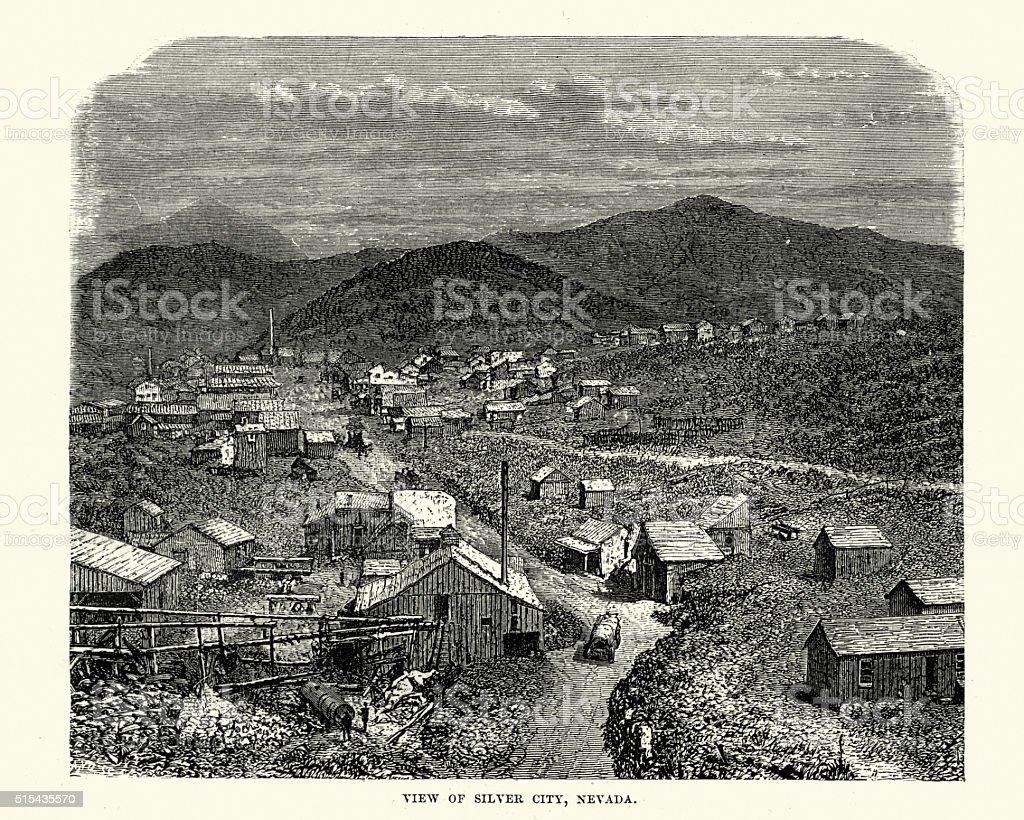 Silver City, Nevada in tthe 19th Century vector art illustration