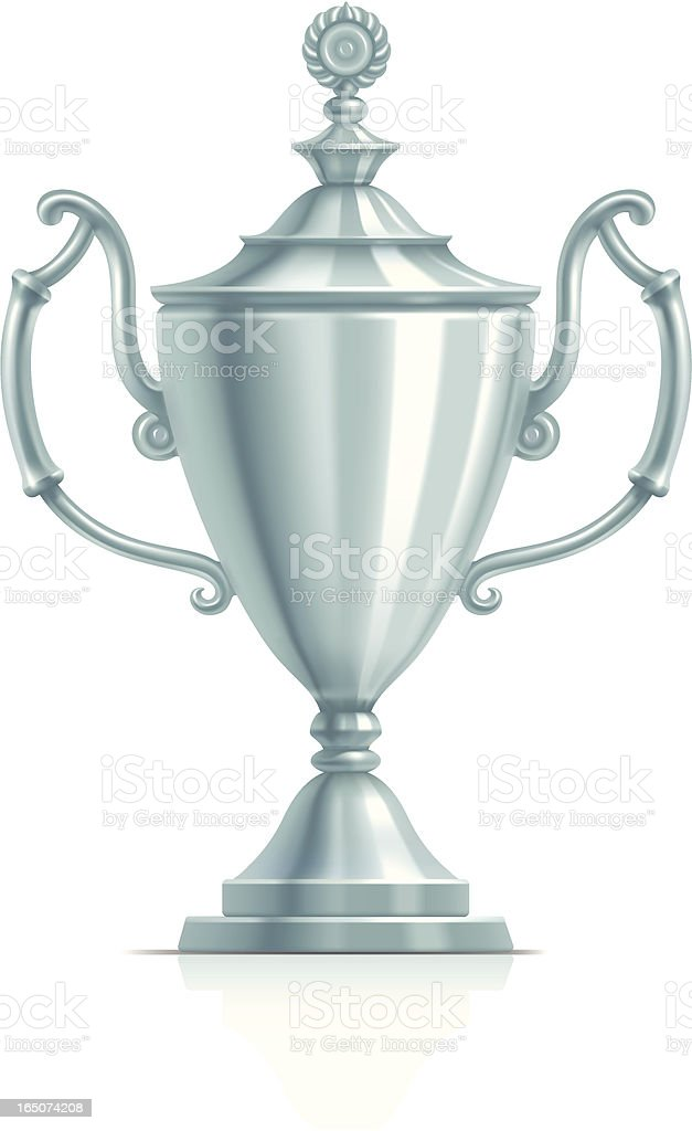 Silver cup vector art illustration