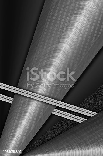 istock Silver gradient creative background with lines and circles. 1265056819