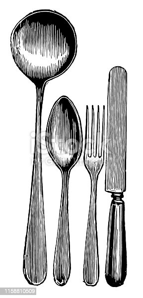 Illustration of a  silver knife, fork and spoon