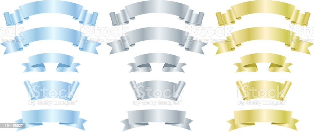 Silver, Metal And Gold Banners Or Ribbons royalty-free silver metal and gold banners or ribbons stock vector art & more images of arts culture and entertainment