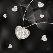 """Silver necklace with diamond heart and jewels on black-and-white background. Files include: Illustrator CS5, Illustrator 8.0 eps, SVG 1.1, pdf 1.5, JPEG 300 dpi, organized by layers, easy to edit."""