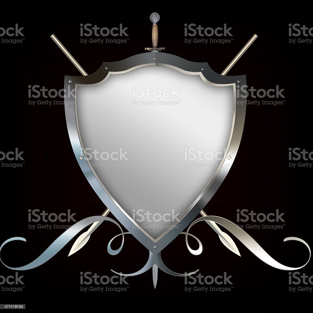 Silver riveted shield and two spears and sword. vector art illustration