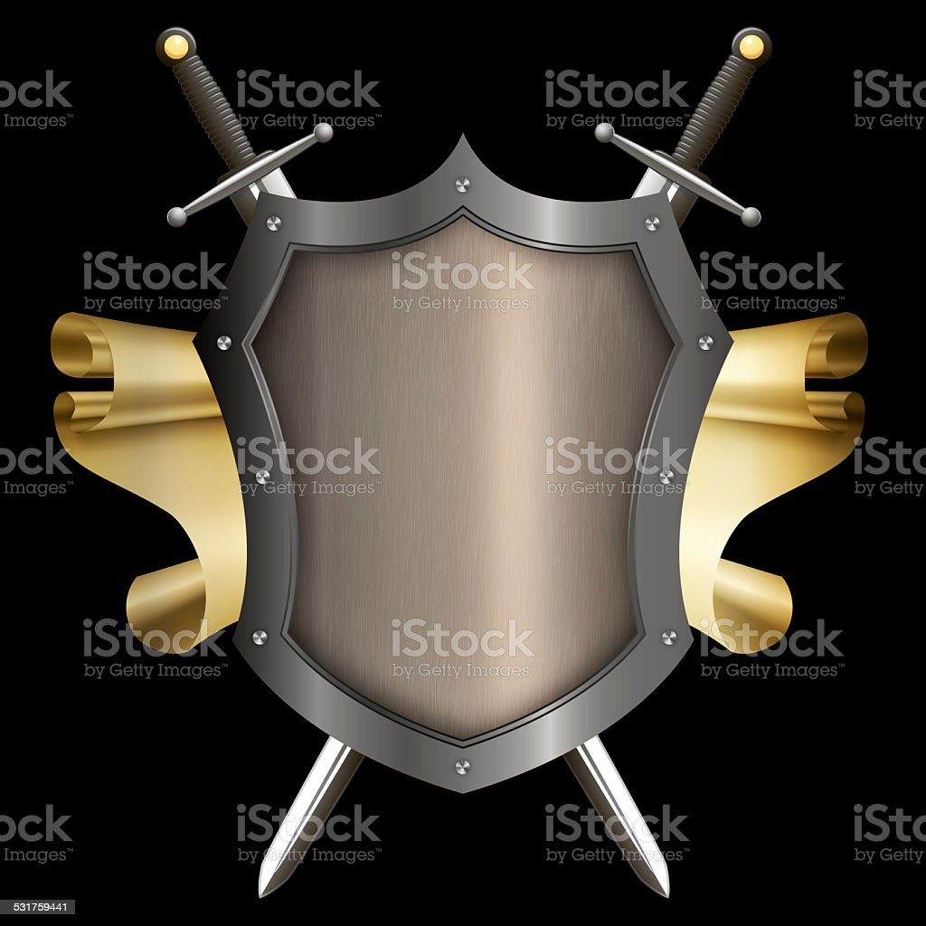 Silver riveted shield with gold scroll and two swords. vector art illustration