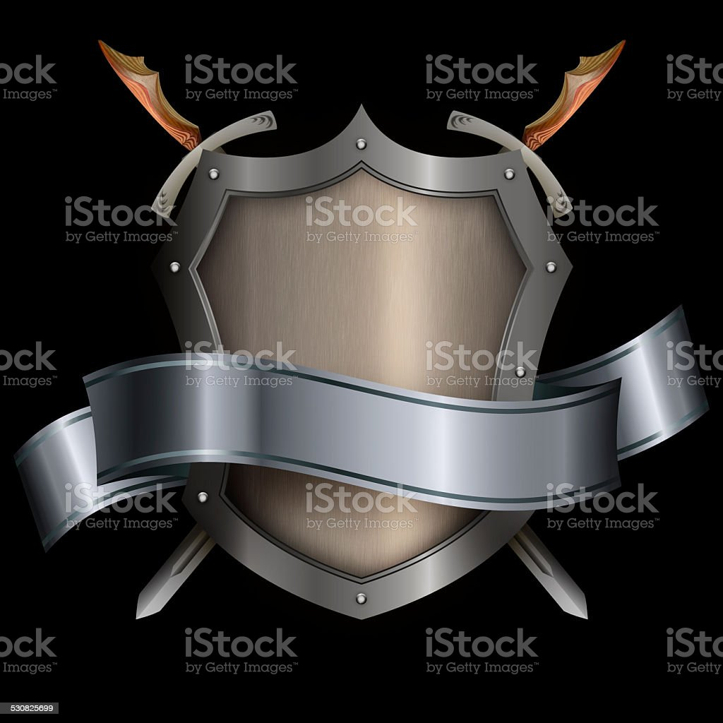 Silver riveted shield with silver ribbon and two swords. vector art illustration