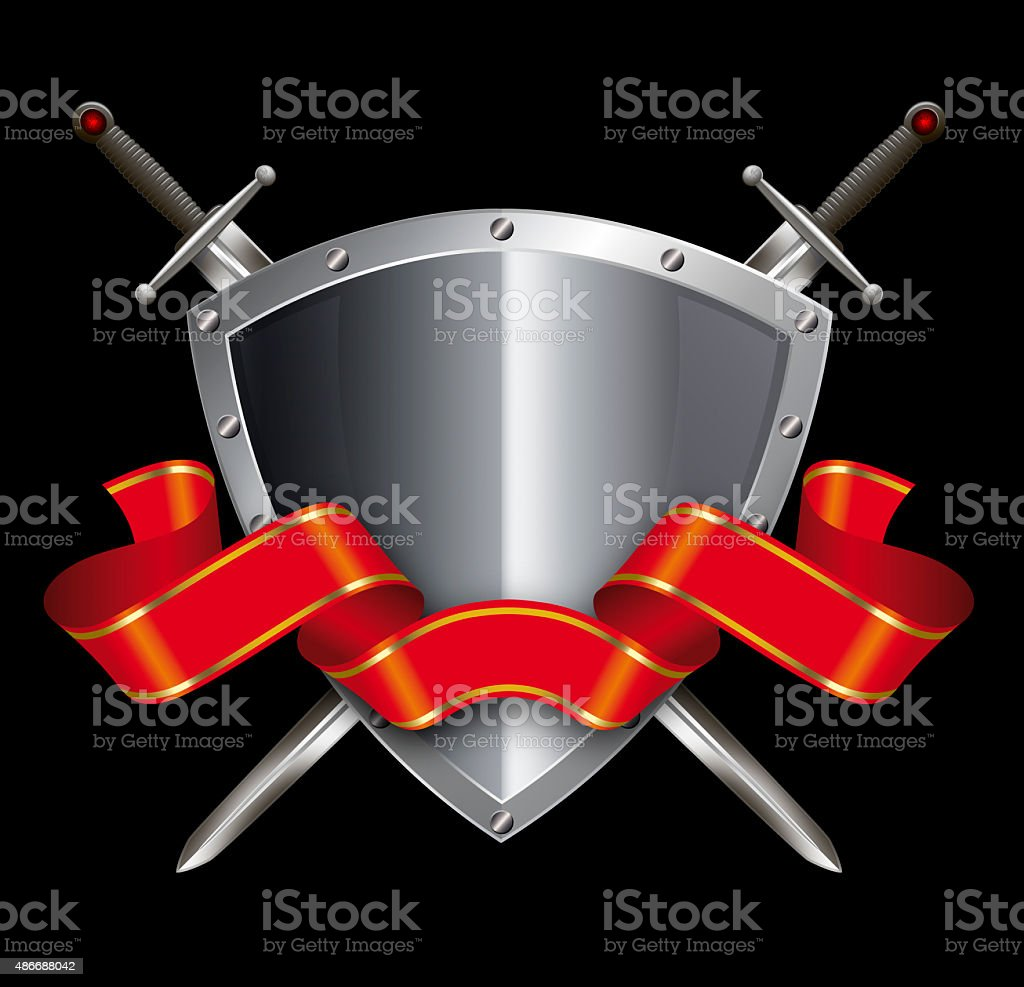 Silver shield with swords and red ribbon. vector art illustration