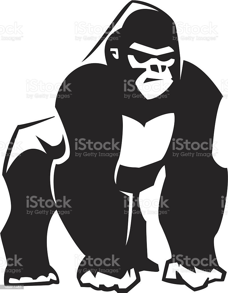 silverback gorilla graphic vector art illustration