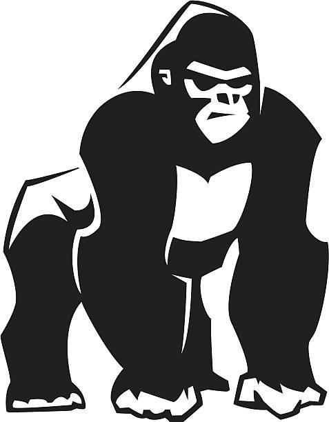 silberrücken-gorilla-grafik - gorilla stock-grafiken, -clipart, -cartoons und -symbole