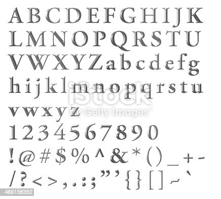 Silvered Alphabetical Letters Numbers And Symbols Stock ...