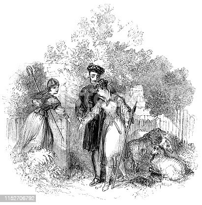 Silvius delivering the letter from Phebe to Ganymede (Rosalind) in As You Like It from the Works of William Shakespeare. Vintage etching circa mid 19th century.